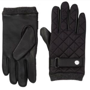 NWT 14th & Union Black Leather Puffer Moto Gloves